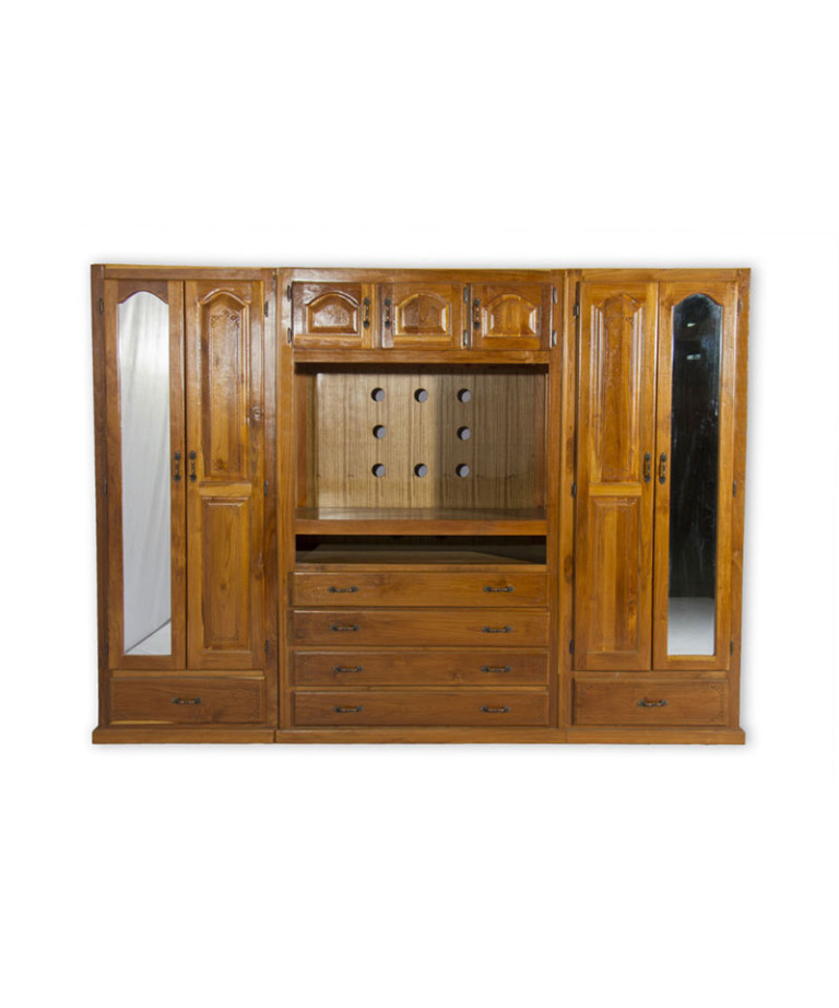 Teak-Wardrobe-4dr-TV